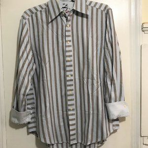 Robert Graham Mens Striped Long Sleeve Shirt Sz L